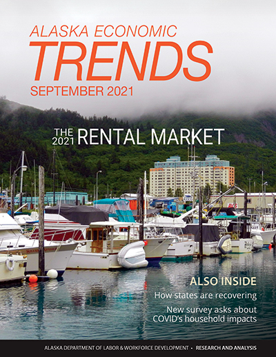 Cover of most current Alaska Economic Trends magazine
